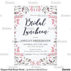 Elegant Pink Roses Floral Bridal Luncheon