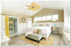 via Desire to Decorate - House of Turquoise; beige, yellow and white bedroom