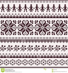 Nordic seamless winter knitted brown pattern vector 1525205 - by RedKoala on VectorStock® Fair Isle Knitting Patterns, Knitting Charts, Knitting Stitches, Card Patterns, Loom Patterns, Crochet Patterns, Motif Fair Isle, Fair Isle Pattern, Loom Bands