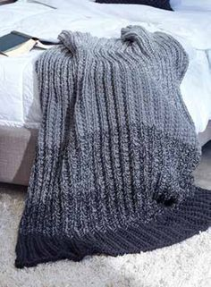 Ombre Ridge Knit Blanket in Caron One Pound - Downloadable PDF. Discover more patterns by Caron at LoveKnitting. The world
