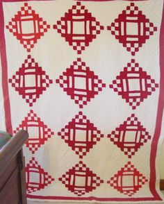 Red and White domino quilt circa 1900 at Cindy's Antique Quilts