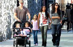 Matt Damon with his family in NYC