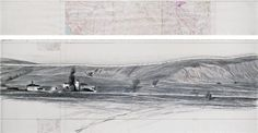 "Christo Running Fence (Project for Sonoma County and Marin County, State of California) Drawing 1975 in two parts 15 x 96"" and 42 x 96"" (38 x 244 cm and 106.6 x 244 cm) Pencil, charcoal, acrylic paint, topographic map, ballpoint pen, technical data and tape"