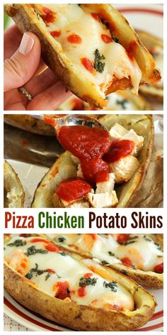 These Pizza Chicken Potato Skins loaded with chicken, marinara sauce, and mozzarella cheese are perfect for dinner or parties! #potatoskins #pizzachicken