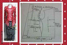 Ideas For Dress Pattern Lace Sewing Tutorials Kebaya Peplum, Kebaya Lace, Batik Kebaya, Batik Dress, Kurta Patterns, Dress Sewing Patterns, Clothing Patterns, Pola Kebaya Kutubaru, Kebaya Brokat