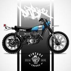 cartel de la motocicleta del scrambler del vintage Vector Premium Enduro Vintage, Vintage Motocross, Vintage Bikes, Vintage Motorcycles, Custom Motorcycles, Custom Bikes, Vintage Sport, Honda Scrambler, Dt Yamaha