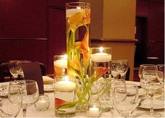 Submerged Calla Lily Centerpiece :  wedding black calla lily centerpiece diy flowers ivory theater Inspiration