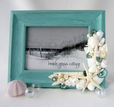 Seashell Frame Beach Decor -  Nautical Shell Frame w White Starfish, Aqua Shabby Chic - 8x10