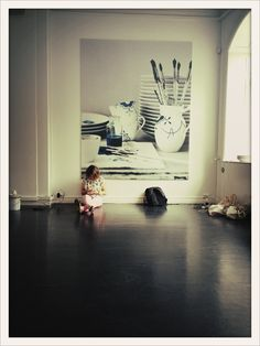 Maria checking her email just before we started painting plates at www.royalcopenhagen.com