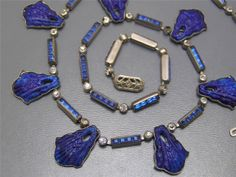 FAB~ Vintage Art Deco Carved Lapis Glass Paste Rhinestones Czech Necklace | eBay