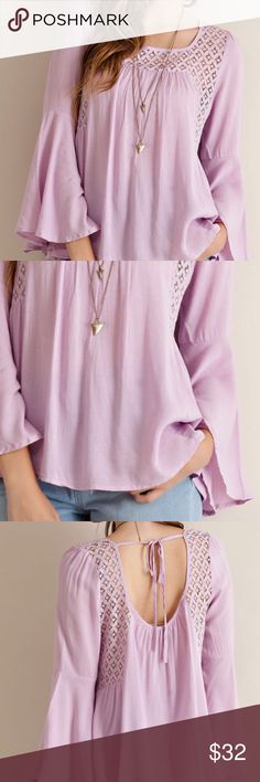 Bell sleeve top Lavender bell sleeve top with tie and lace detail. Super cute with jeans or shorts. 100% rayon PRICE FIRM UNLESS BUNDLED A Bohemian Child Tops Blouses