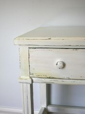 how to antique and distress laminate furniture with paint. Great tutorial!!