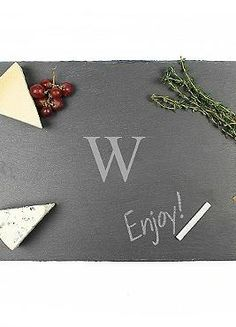 Write out the menu or a personal message to your guests at your parties with the Personalized Slate Serving Board that you can easily write on with chalk while serving up delectable appetizers.