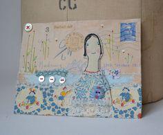 ARTWORK ORIGINAL envelope mixed media ooak A perfect day