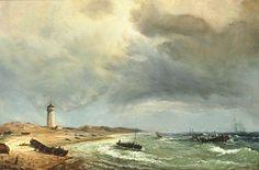 White Lighthouse painting by Daniel Hermann Anton Melbye (1818-1875)