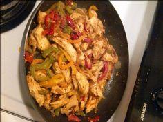 Chicken Fajitas (made with homemade fajita seasoning... not that high sodium store bought stuff!). From sarahbellafoodblog