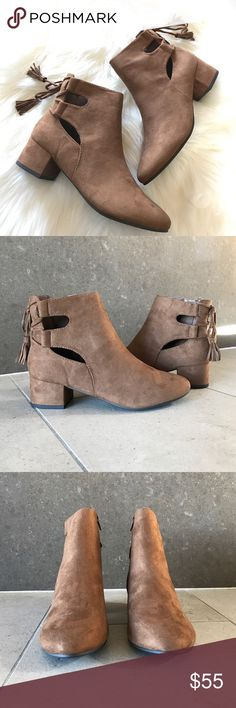 """Finge Tassel Suede Ankle Booties Back Lace Up Stacked Block Heel Ankle Booties with Tassel detail. Brown Suede. Heel measures approximately 1 inches"""" Side Zipper Closure True To size. Boutique Shoes Ankle Boots & Booties"""