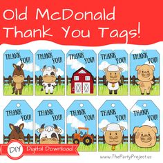 Whether you are planning an Old McDonald themed birthday, a Farmhouse baby shower or even a barnyard bash event, these Farm themed tags featuring Cows, Horses, sheep, Pigs, barn and other farm animals, will make your special celebration stand out! Tie the party labels to favor bags, party prizes, giveaways, gifts or any token of appreciation for your guests as a gesture of thanks for their attendance!