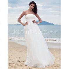 Sheath/ Column Strapless Floor-length Organza Wedding Dress