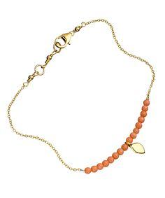 Meredith Hahn Erin Coral Single Leaf Bracelet