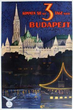 Budapest Hungary, 1930s - original vintage poster by Polya Tibor listed on AntikBar.co.uk