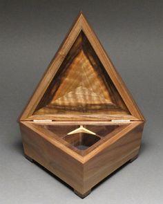 Triangular Jewelry Box, 'The Mini Tri-Box', Curly Walnut