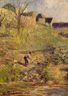 """Camille Pissarro (1830-1903) ~ Osny, Paysage"""", 1883 ~ Huile sur Toile (Détail)"""