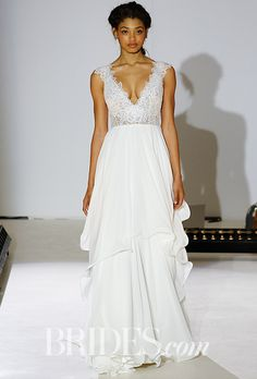 """Brides: Leigh by Hayley Paige. """"Leigh"""" ivory chiffon A-line wedding dress with lattice and rose-cut lace bodice and soft flounce skirt, Hayley Paige"""