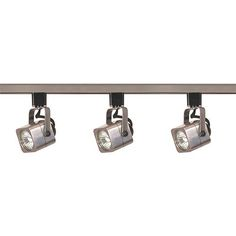 Brushed Nickel Three-Light Line Voltage Square Track Kit