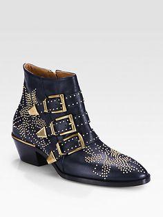 Chloé - Studded Leather Buckle Ankle Boots - Saks.com