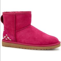 LAST CHANCE  UGG Rustic Weave SOLD (T) Declining Offers! Price is lowest! New In Box Adorable Year round Mini Rustic Weave Boot. This is the last pair in this color and sold out on line as well! Beautiful UGG Shearling with UGG Fuchsia Merino Wool Lining! Pattern is on back and partial side of boot ! Gorgeous and Unique. ❌No Holds❌Smoke Free and No PP . Final SALE. Price is FIRM UGG Shoes Ankle Boots & Booties