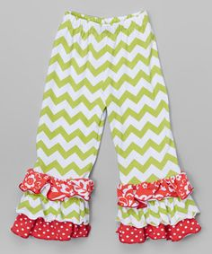 Another great find on #zulily! Meadow Chevron Ruffle Pants - Infant, Toddler & Girls #zulilyfinds