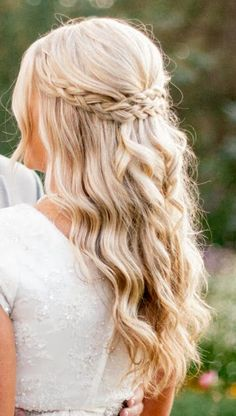 Half up braid with curls