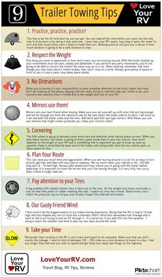 9 Trailer Towing Tips from LoveYourRV.com http://www.loveyourrv.com/trailer-towing-tips-infographic/  #Trailer #Towing #Tips