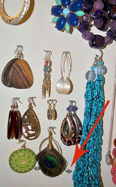 use screw eyes and cup hooks to display jewelry.