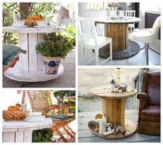 Wooden cable spool table - 40+ upcycled furniture ideas