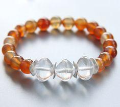 Natural Agate Bracelet. Czech Glass Freeform Cast by KapKaDesign, $49.00