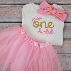 One-derful First birthday outfit girl pink and gold birthday