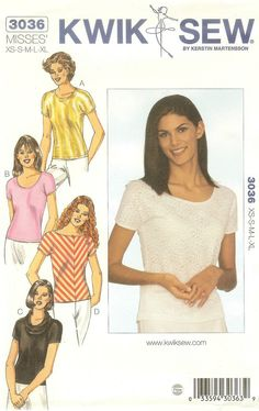 Kwik Sew 3036 Misses Tops Pattern Sizes XS - XL Uncut in Crafts, Sewing, Patterns | eBay