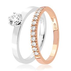 Yhdistä rohkeasti puna- ja valkokultaa ja saat näyttävän yhdistelmän kihlasormuksesta ja vihkisormuksesta. Hillaby White -sormus 0,31ct W/Vs-timantilla 1850 e. Sommartiden Red -rivisormuksessa kimaltaa 11 timanttia, 980 e. Malm, Wedding Rings, Engagement Rings, Jewelry, Enagement Rings, Jewlery, Jewerly, Schmuck, Jewels