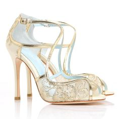 Wedding Shoes Gold Embroidered Lace and Ivory Silk Criss Cross Handmade and Romantic Bridal