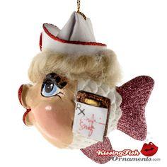 Nurse Kissing Fish Ornament