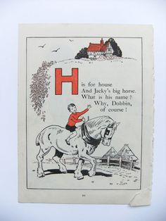 Vintage storybook picture - H is for house   ...  -  perfect for matting and framing for nursery decor on Etsy, £6.00