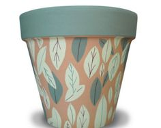 Items similar to Green Leaves Terra Cotta Garden Planter on Etsy Pottery Painting, Ceramic Painting, Ceramic Art, Flower Pot Design, Flower Pot Art, Painted Plant Pots, Painted Flower Pots, Decorated Flower Pots, Clay Pots