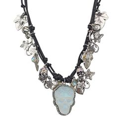 NEW KIRKS FOLLY DREAM SKULL ENCHANTED FOREST TRIPLE CORD NECKLACE SILVERTONE/ AB #KirksFolly #NECKLACE