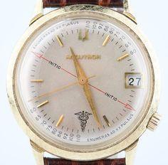 Vintage Men's 14k Yellow Gold Bulova Accutron Watch Movement 218 w/ Leather Band #Bulova #Dress