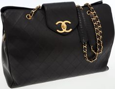 Travel/Trunks, Chanel Black Lambskin Leather Supermodel Jumbo Tote with GoldHardware. ... Image #1