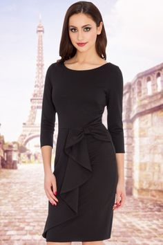 Vintage Chic Black Waterfall Bow Pencil Dress 15373 3