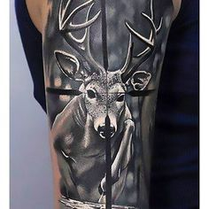 Hunting Tattoos For Men - Skills Of War In Times Of Peace Target Deer Hunting Tattoo Ideas For MalesTarget Deer Hunting Tattoo Ideas For Males Deer Hunting Tattoos, Deer Skull Tattoos, Animal Tattoos, Buck Tattoo, Hunter Tattoo, Moose Tattoo, Tattoo Art, Crane, Outdoor Tattoo