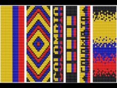 Diseños bandera de colombia (plantillas para manillas ) manillas en mostacilla - YouTube Loom Bracelet Patterns, Bead Loom Bracelets, Bead Loom Patterns, Cross Stitch Patterns, Loom Beading, Tapestry, Beads, Crochet, Jewelry